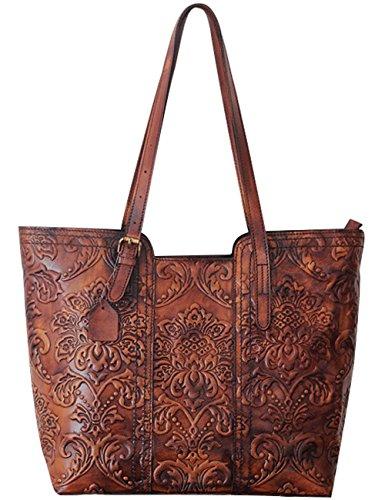 Youlee Damen Handgefertigt Leder Handtasche Große Einkaufstaschen Red Braun
