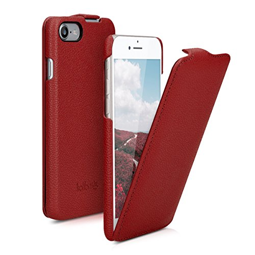 kalibri-Flip-Hlle-Ultra-Slim-Tasche-fr-Apple-iPhone-7-Leder-Schutzhlle-Case-in-Rot