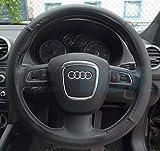 Tekbox Universal Black PU Leather Car Van Steering Wheel Cover / Plain Effect Protector / Size: 38cm