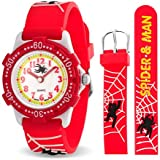 Bling Jewelry Spider Web Red Kids Watch Stainless Steel Back Rotating Bezel