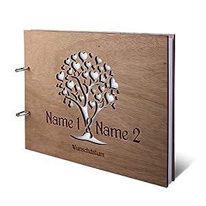 Hochzeit Gästebuch Okoume Holz Gravur individuell Holzcover mit 144 Naturpapier Innenseiten DIN A4 quer 302 x 215 mm…
