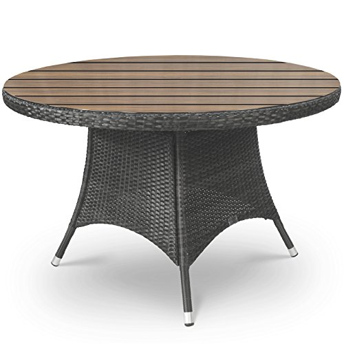 Oasis Rattan And Plaswood Round Garden Table 120cm Diameter Garden Rattan F