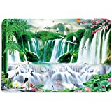 Place Mats For Dining Table Set Of 6, Place Mats In Heavy Cotton, Waterfall HD Digital 12 By 18 Inches ( Set Of 6)