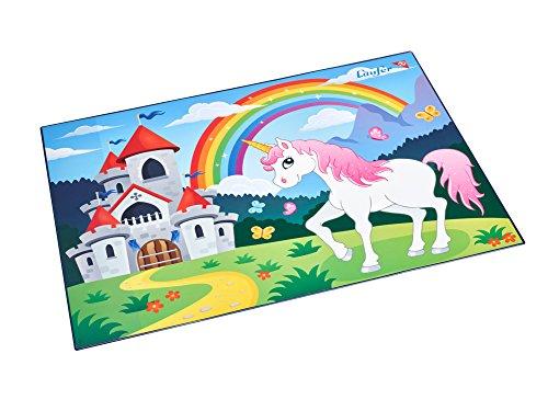 Läufer 46653 Schreibtischunterlage mit Motiv Einhorn, 40x53 cm, rutschfeste Schreibunterlage für Kinder mit transparenter Seitentasche