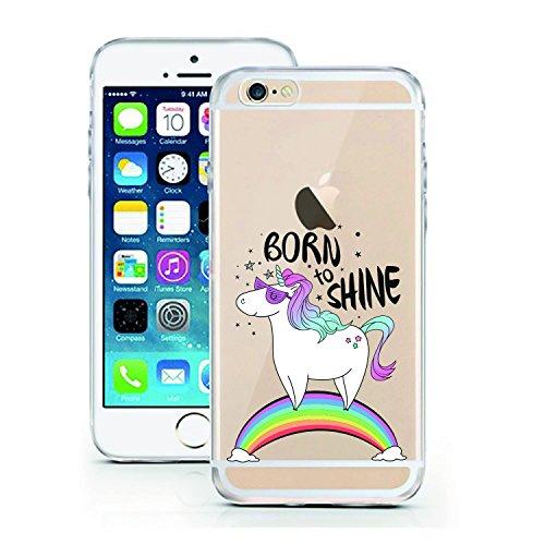 iPhone 7 Hülle von licaso® kompatibel für das Apple iPhone 7 aus TPU Silikon Born to Shine Einhorn Muster ultra-dünn schützt Dein iPhone 7 Case Design Schutzhülle Bumper