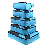 LEMESO Packing Cubes for Travel - 1 Large, 2 Medium, 1 Small, 1 Wash Bag and 1 Laundry Bag (6-Piece Set), Blue