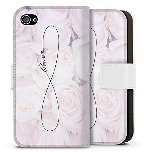 Apple iPhone 6 Tasche Hülle Flip Case Eternal Love Spruch Rosen Liebe Sideflip Tasche weiß