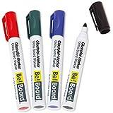 Rotuladores de pizarra de cristal / para pizarras magnéticas / para pizarras blancas y flipcharts-portabloc, punta redonda (2-3mm), 4 unidades, colores surtidos (negro, rojo, ver, azul), borrables