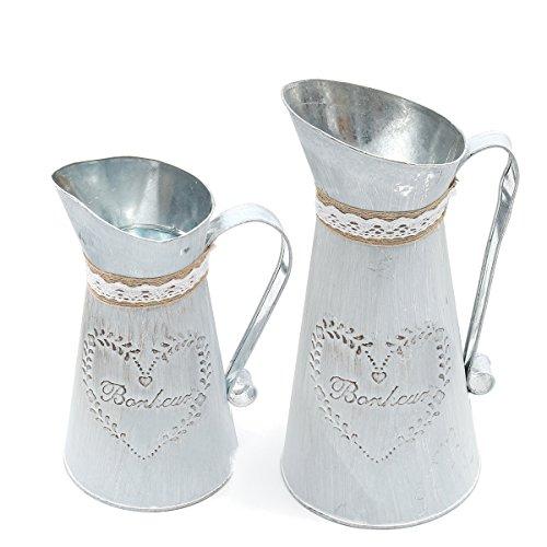 Tutoy Rustique Fer cruche Vintage Pays Style pichet Fleur métal Vase Plante arrosage Pot - S