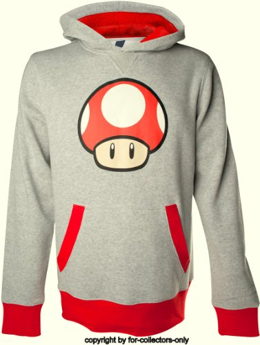 Nintendo Sudadera Capucha Sudadera Mushroom Seta 1UP Red Logo tamaño m–Super Mario Bros. Sweater–Sudadera con capucha