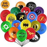 "Ssyihao Super Hero Balloons 100 Pack 12"" Latex Balloons for Kids Birthday Party Favor Supplies Decorations 20 Symbol Perfect for Your Themed Party"