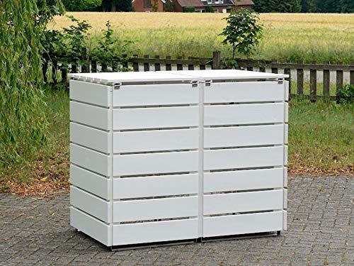 2er Mülltonnenbox / Mülltonnenverkleidung 240 L Holz, Deckend Geölt Weiß - 4