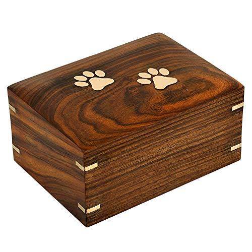 Bhartiya Handicrafts - Urnas de Madera para Cenizas, Color marrón Oscuro, para Perros, urnas de Recuerdo para Cenizas, Caja de Madera para cremación