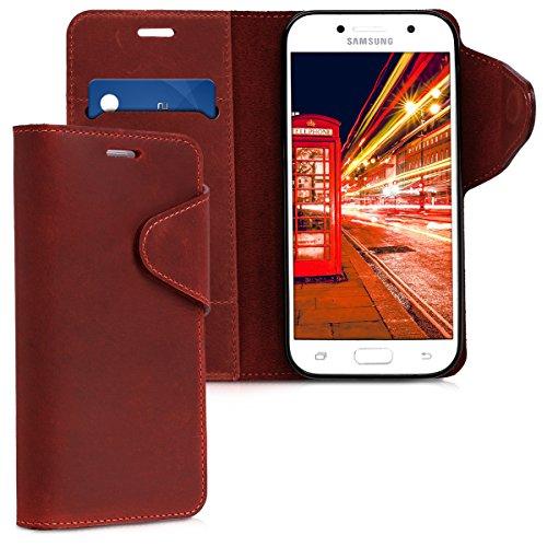 kalibri-Hlle-fr-Samsung-Galaxy-A5-2017-Echtleder-Wallet-Case-Schutzhlle-mit-Fach-und-Stnder-in-Dunkelrot