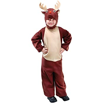 Childs Reindeer Christmas Xmas Fancy Dress Up Outfit Nativity Pantomime Costume