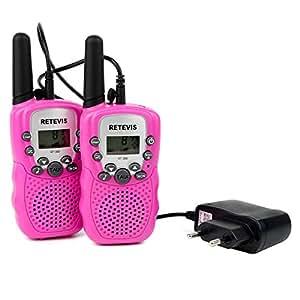 Retevis RT-388 Talkie Walkie Enfant 446MHZ 0.5W Pile Rechargeable LCD ÉcranVOX CTCSS / DCS 8 Canaux(Rose, 1 Paire)