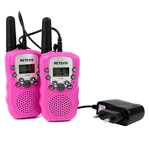 Retevis RT388 Walkie Talkie Niños UHF con Pantalla LCD 10 Tonos de Llamada PMR 446 con Cargador de Adapador Europeo Linterna LED VOX 8 con Subcanal Canales Clip de Cinturón(Rosa,1 Par)