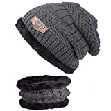ANVEY Unisex Winter Dick Beanie Hut Schal Set Slouchy Warm Schnee Knit Cap Grau