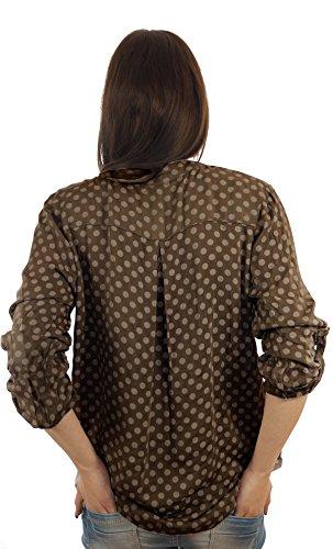 Bluse Tunika Longbluse mit Punkten Lässige Bluse Fischerhemd Polka Dots Braun