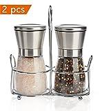 Salz und Pfeffermühle, WONSUN Salz- Pfeffermühlen Set mit einstellbarer Keramikmahlwerk, Edelstahl & Glas-Körper Salzmühle Gewürzmühle inklusive Halterung - 180ml 2x Pack