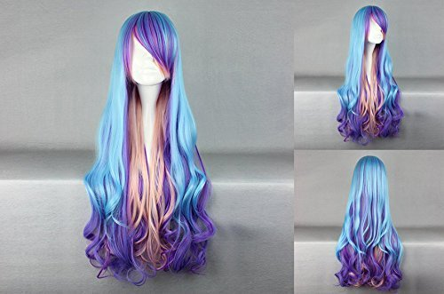 Ladieshair Cosplay Perücke blau 80cm ()