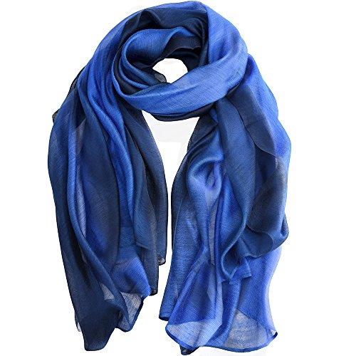 Asiv® Grande Mous Lumière Élégant Dégradé de Couleur Écharpe Sheer Châle Envelopper les Foulards en Soie pour Femme-Bleu
