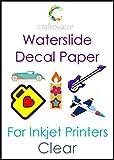 Paquete de hojas para imprimir pegatinas (5 unidades, tamaño A4, para impresora de inyección de tinta, transparente)