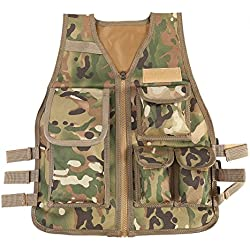 Chaleco Multi-bolsillos de Nylon Ajustable CS Airsoft Molle Chaleco para Caza Fotografía Pesca para Niños de 8 a 14 Años ( Color : CP )