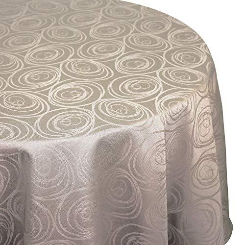 Nappe ovale 180x240 cm Jacquard 100% coton SPIRALE taupe