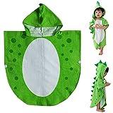 TOOGOO Asciugamano da Bagno per Bambini Robe Bambini con Cappuccio da Spiaggia A Forma di Poncho di Nuoto Dinosauro (Verde + Bianco 55 Cm X 110 Cm)