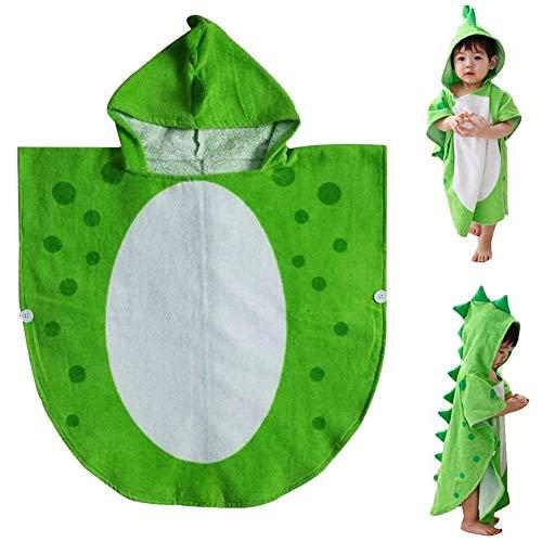 TOOGOO Kinder Bade Tuch Kleid Kinder mit Kapuze Strand Schwimmen Poncho Dinosaurier Muster (Grün + Wei? 55 cm X 110 cm)