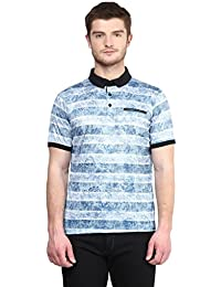 Wear Your Mind Blue Polyester Printed Henley Mandarin Collar T-shirt For Men WP260