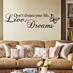 Idea Regalo - Adesivo da parete in vinile con scritta Don't dream your life, live your dreams