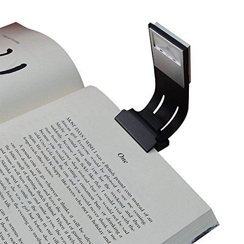 Foto de USB Recargable Linterna LED para Leer - 4 Brillo Ajustable Portátil Ligero Clip en E-reader Noche Lampara de Lectura Marca de Libro con Brazo Flexible, Negro