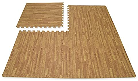 Hausen 80 SQ FT Interlocking Wood Effect Soft EVA Foam Mats Kids Play/Garage/Gym Floor Tiles