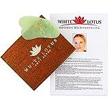 White Lotus Anti Aging – Piedra de Auto Masaje Gua Sha de Jade Masajeador Facial Antiedad Gua Sha Pan Terapia Antiarrugas Accesorio de Belleza Técnica Guasha con Su Caja Tradicional Forrada en Seda