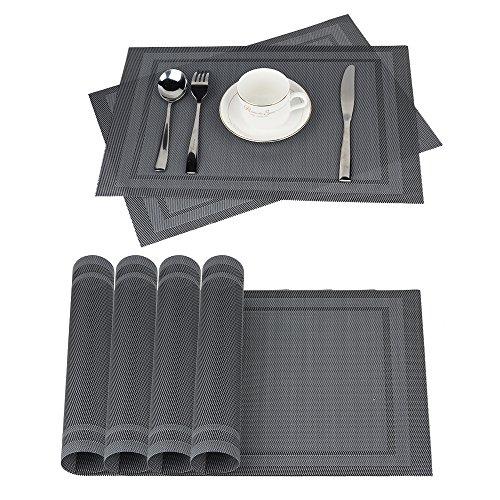 Glatte Tischsets Vinyl (Platzdeckchen Abwaschbar 6er Set, moonlux Tischsets Abgrifffeste Hitzebeständig Rutschfeste PVC Platzsets für Küche Speisetisch, 30x45cm (Grau))