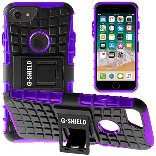 G-Shield Hülle für iPhone 8/iPhone 7 Stoßfest Schutzhülle mit Ständer - Lila Lila Iphone Fall
