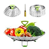 Steamers for Cooking Stainless Steel Vegetable Steamers Basket, Folding Steamer Insert Fits Various Size Pot and InstaPot Pressure Cooker, with Anti-hot Extendable Handle and Non-Slip Legs ((6