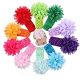 10Pcs/Pack 5.5& & Multicolor Headbands Chiffon Flowers Bow Elastic Headbands Mesh Flower Bow Hair Band For Toddlers...