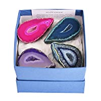Gift-Boxed Set of 4 Mixed Colour Brazilian Agate Geodes - With Information Card & Stands