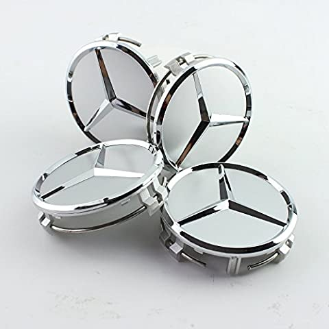 4 piece×75mm ALLOY WHEEL CENTRE Hub CAPS for MERCEDES BENZ (silver)