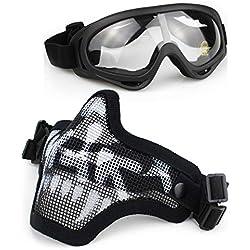 Aoutacc Airsoft Ensemble masque et lunettes, demi-masque en acier plein masque et lunettes pour CS / Chasse / Paintball / Tir (Masque de crâne noir)
