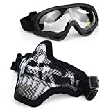 Aoutacc Airsoft Mask and Goggles Set, Half Face Full Steel Mesh Mask