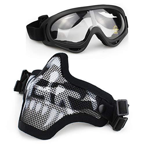 Aoutacc Airsoft Mask and Goggles Set, Mezza faccia Full Steel Mesh Mask e occhiali per CS / Caccia / Paintball / Shooting (Black Skull Mask)
