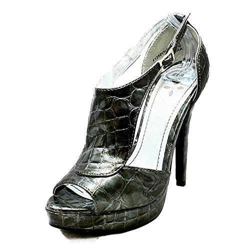 Chaussures à talons hauts avec peep toe et côtés ouverts Croc en étain