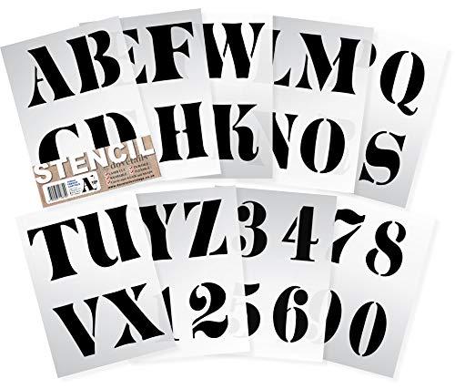 10 cm hohe Alphabet Schablonen sehr große Buchstaben / Zahlen 0-9. FRENCH Großbuchstaben auf 9 Blatt 29.5 x 20 cm -