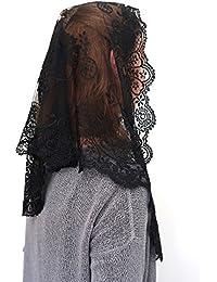 ANGELYK corsets habillés - Mantilla, Robó Triángulo Negro Verdadero Encaje de Raso de 60 x 80 x 120cm Católica