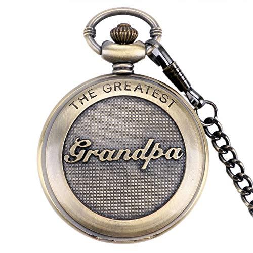 DYH&PW Taschenuhr Kupfer Retro Taschenuhr Die Größte Opa Thema Quarz Taschenuhr Männer Frauen Kette Anhänger Taschenuhr -