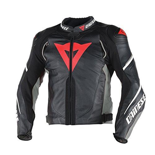 Dainese-super speed d1 giacca da moto in pelle, nero/antracite/bianco, taglia 50